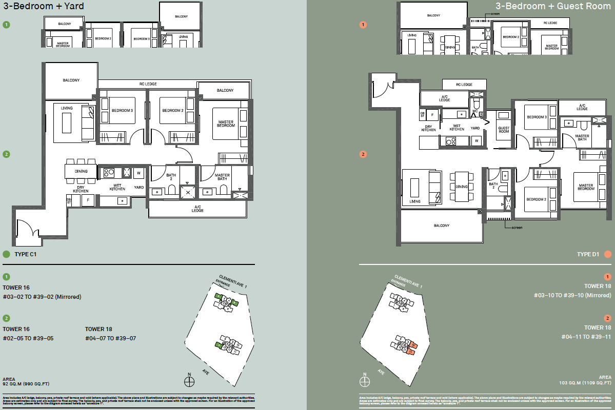 The Clement Canopy Floor Plans . Types C1 & D1 . Example 3 Bedroom Layouts
