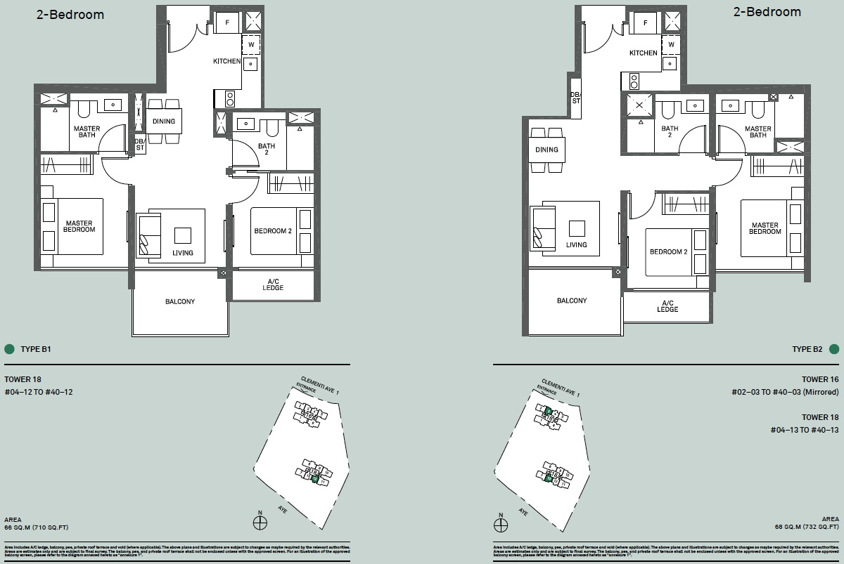 The Clement Canopy Floor Plan . Types B1 & B2 . 2 Bedroom Layouts